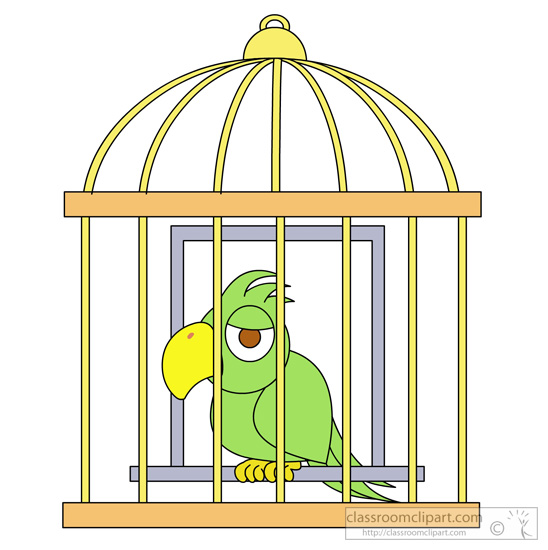 Bird In A Cage Clipart.