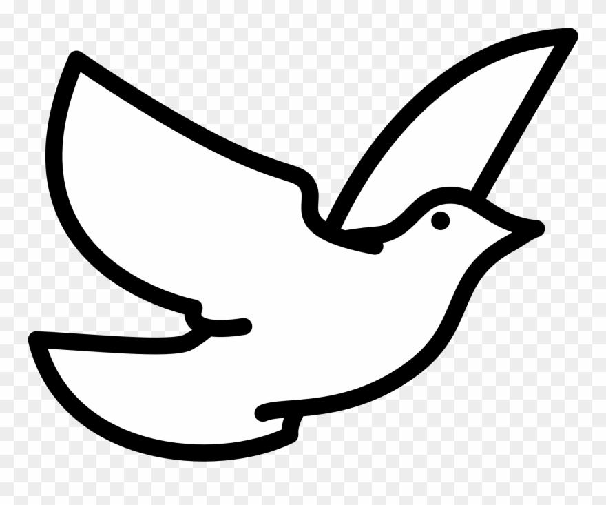 Holy Spirit Dove Clipart Black And White Flying Line.