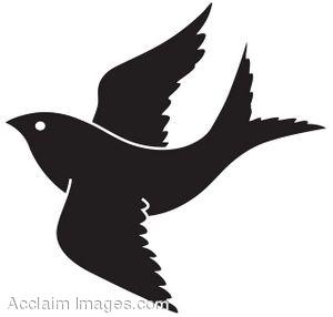 Bird in Flight Silhouette Clip Art.