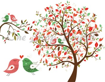 Love Bird Clip Art Tree Clipart Branch Heart Bird Element Red and Green  Birds.