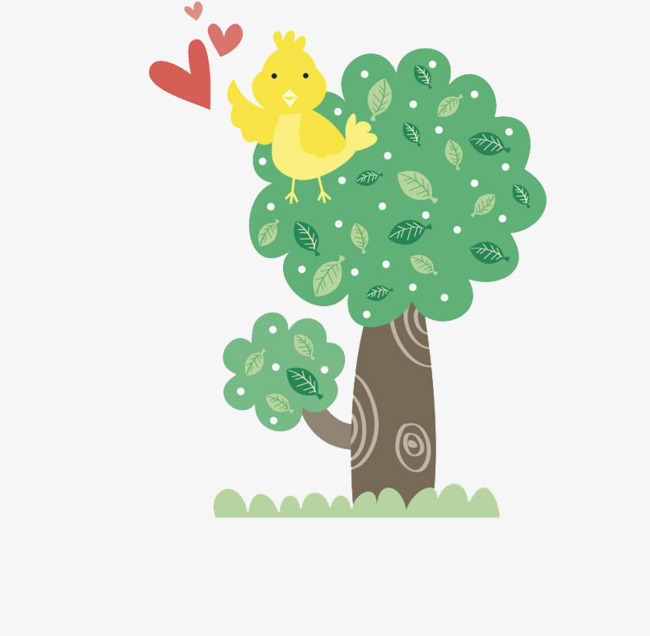 Tree Bird, Cartoon Animal, Decorative Pattern PNG Image and Clipart.