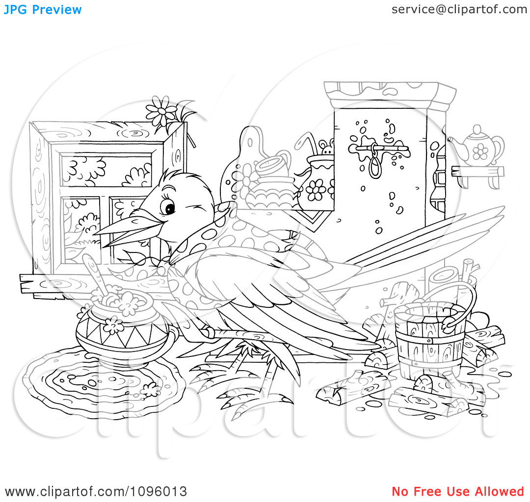 Clipart Outlined House Keeping Bird With A Messy Interior.
