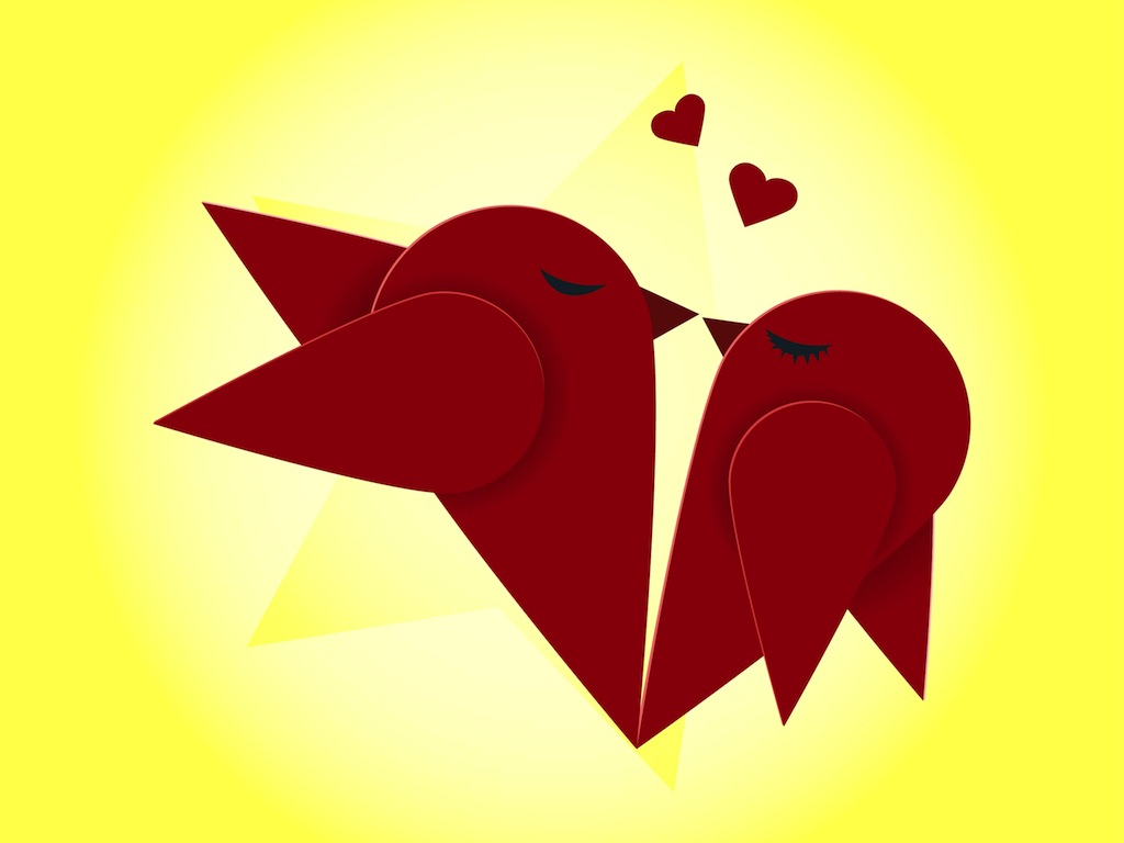 Christmas Birds Kissing Clipart.