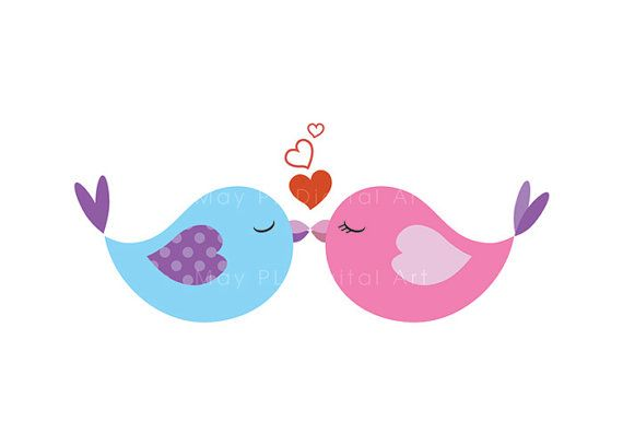 Birds kissing clipart.