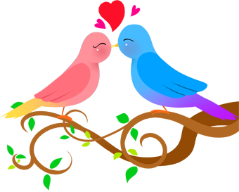 Kissing Birds Clipart.