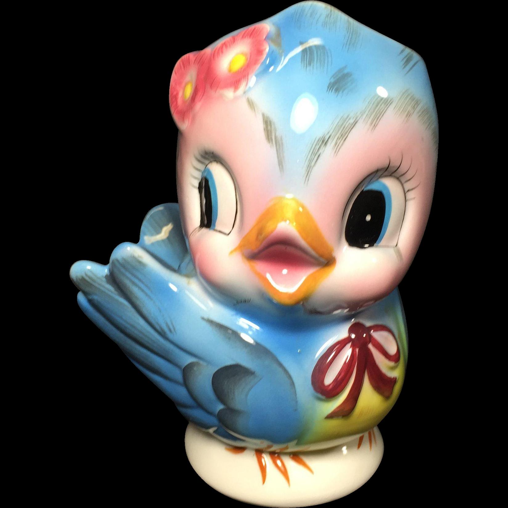 Lefton Blue Bird Head Vase Planter from headsupvintage on Ruby Lane.