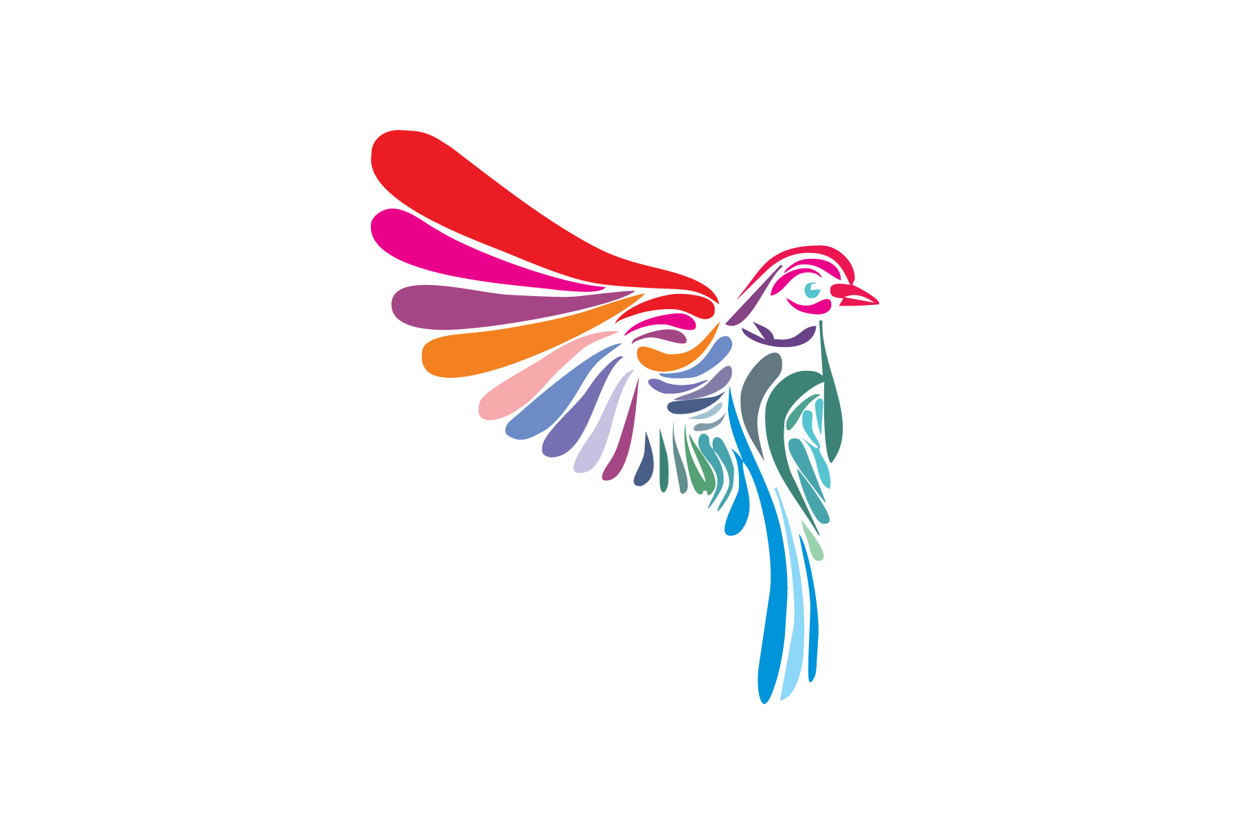 colorful bird logo.