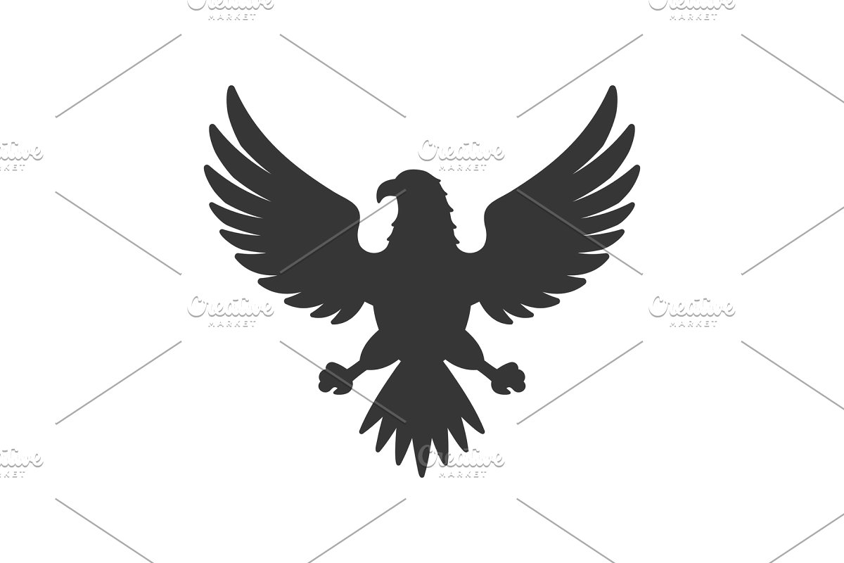 Eagle Icon. Bird Logo on White.