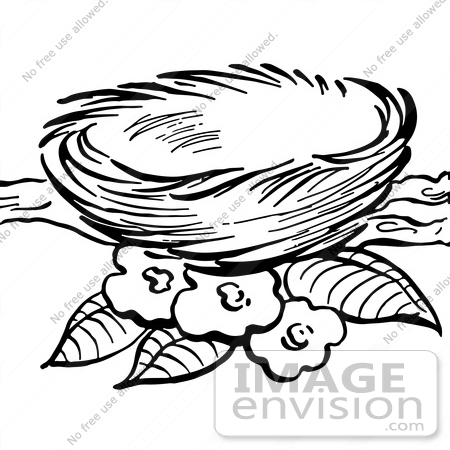 Clipart Of A Bird Nest And Blossoms On A Branch In Black And White.