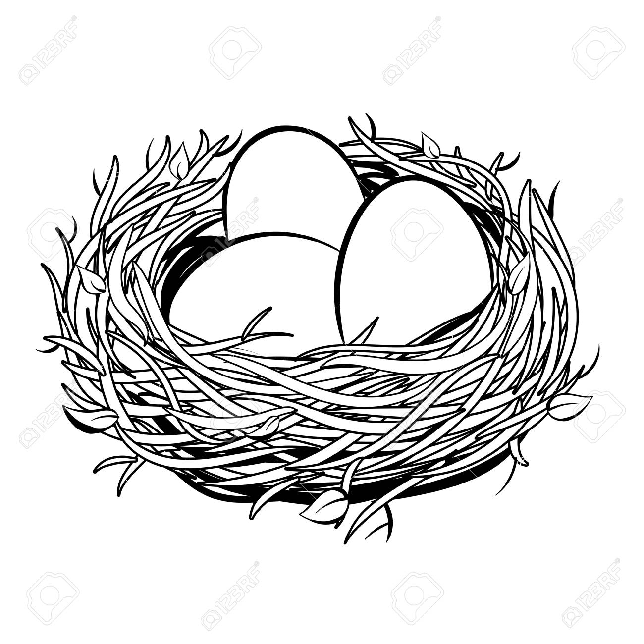 Nest with golden egg coloring illustration.