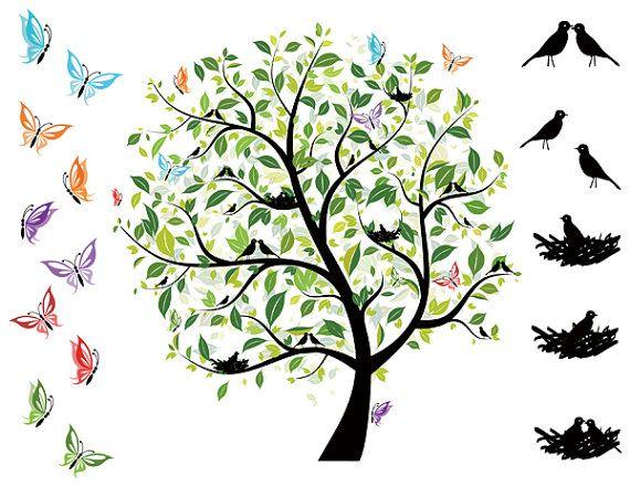 Instant Download Digital Love Bird Tree ClipArt Green Tree.