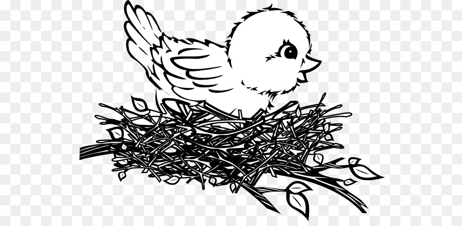 Bird In A Nest Clipart Black And White.