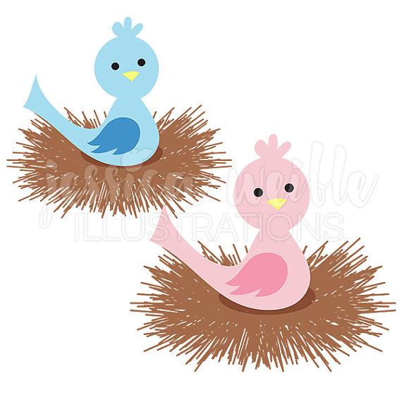 Baby Bird Nest Cute Digital Clipart, Baby Nest Clip art, Bird Nest.