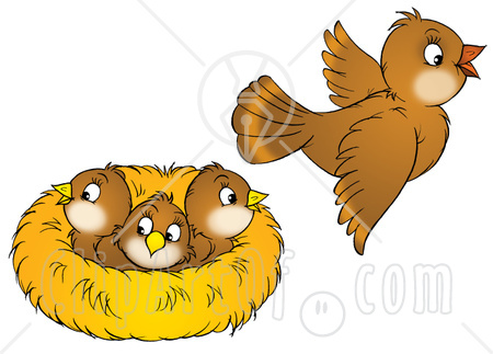 Baby birds in nest clipart.