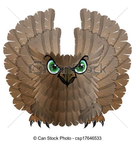 Vectors of Nocturnal birds of prey. Owl. Vector illustration.