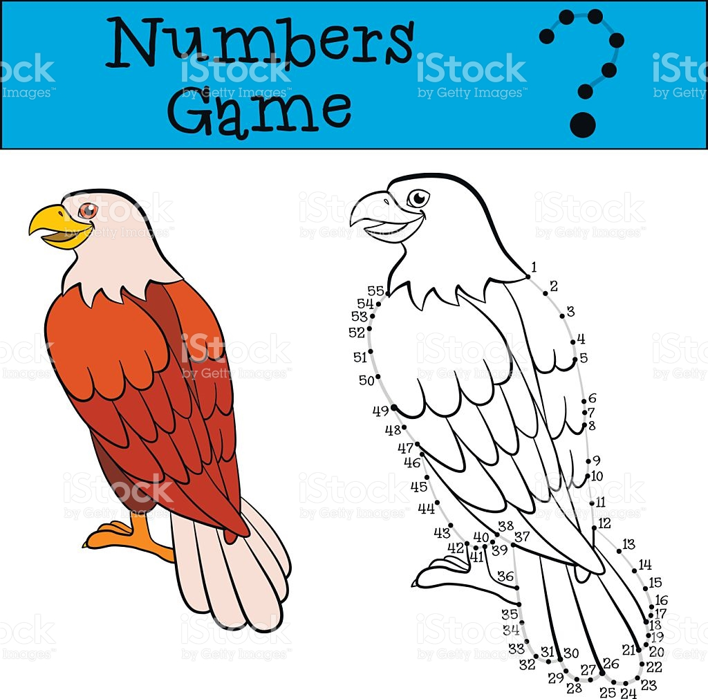 Educational Games For Kids Numbers Game With Contour Cute Eagle.