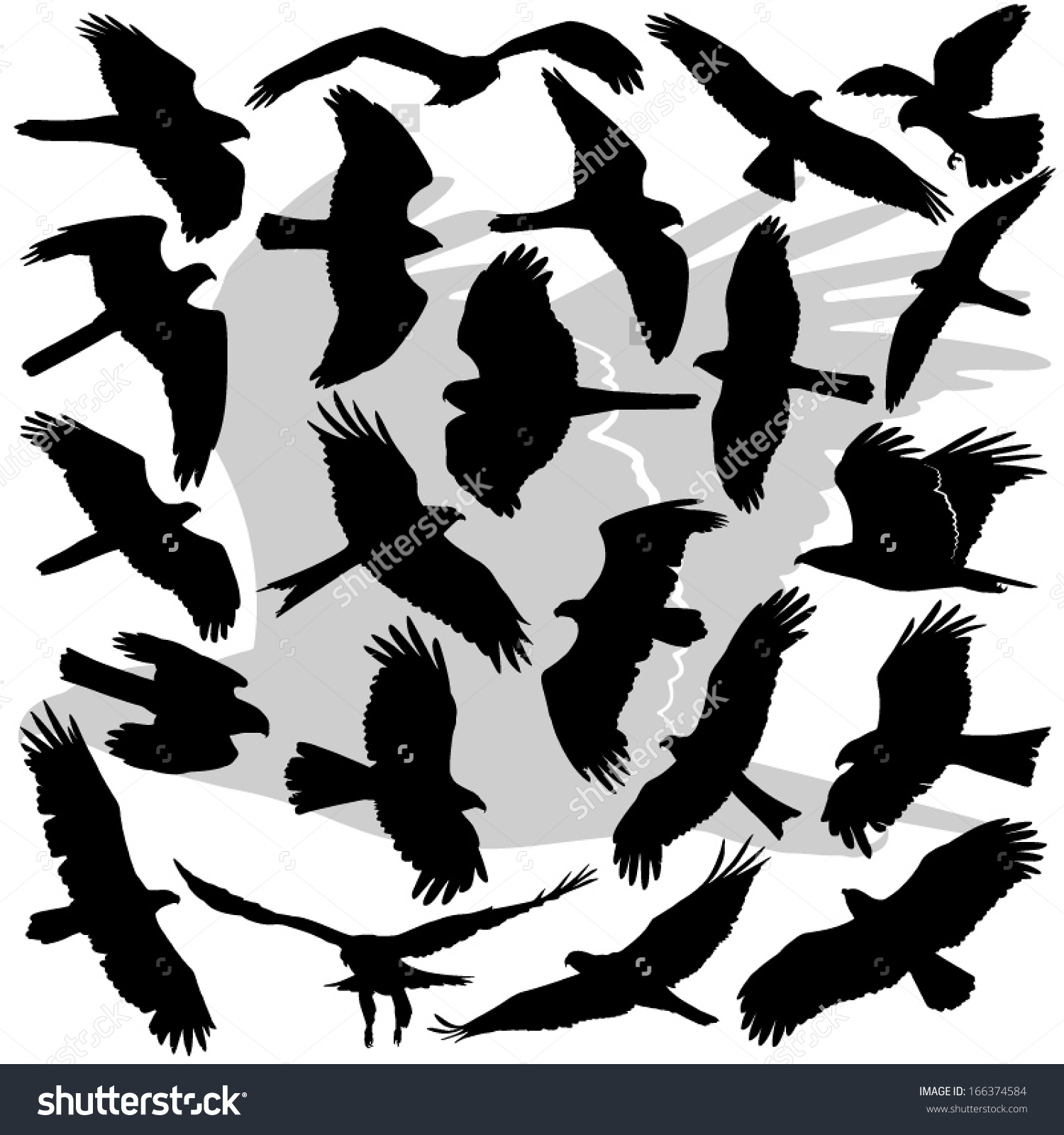Vector Illustrations Set High Detail Silhouettes Stock Vector.
