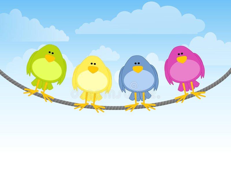 Birds Wire Stock Illustrations.