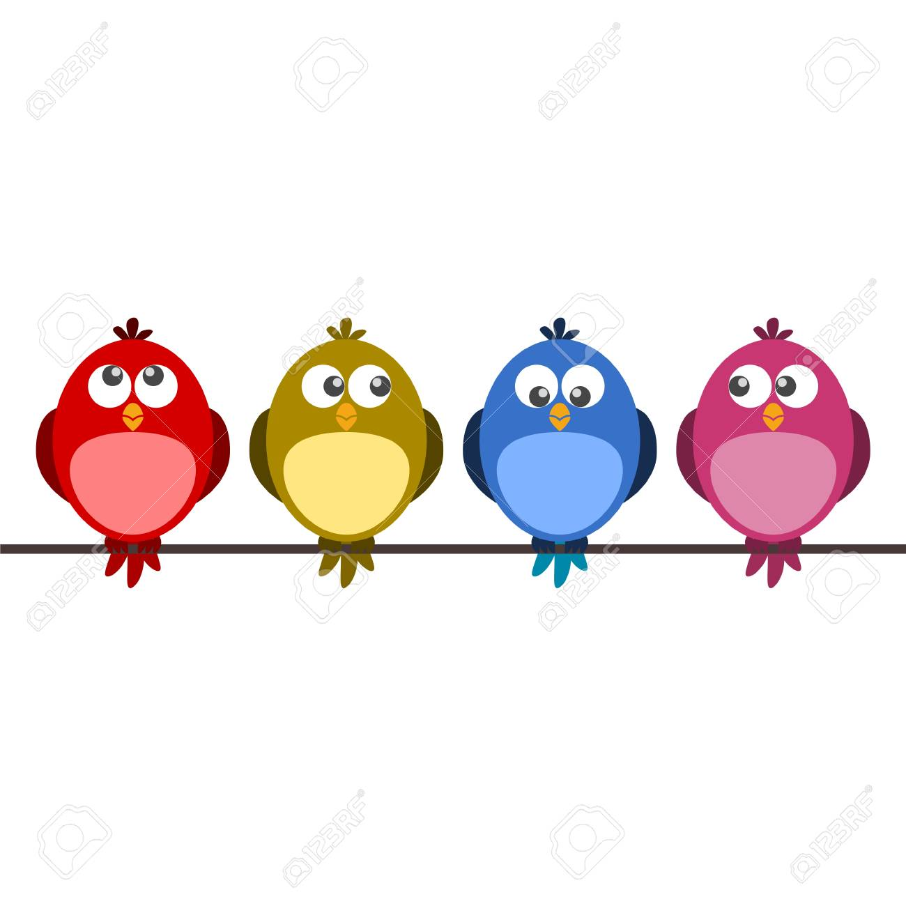 Cute color birds on wire.