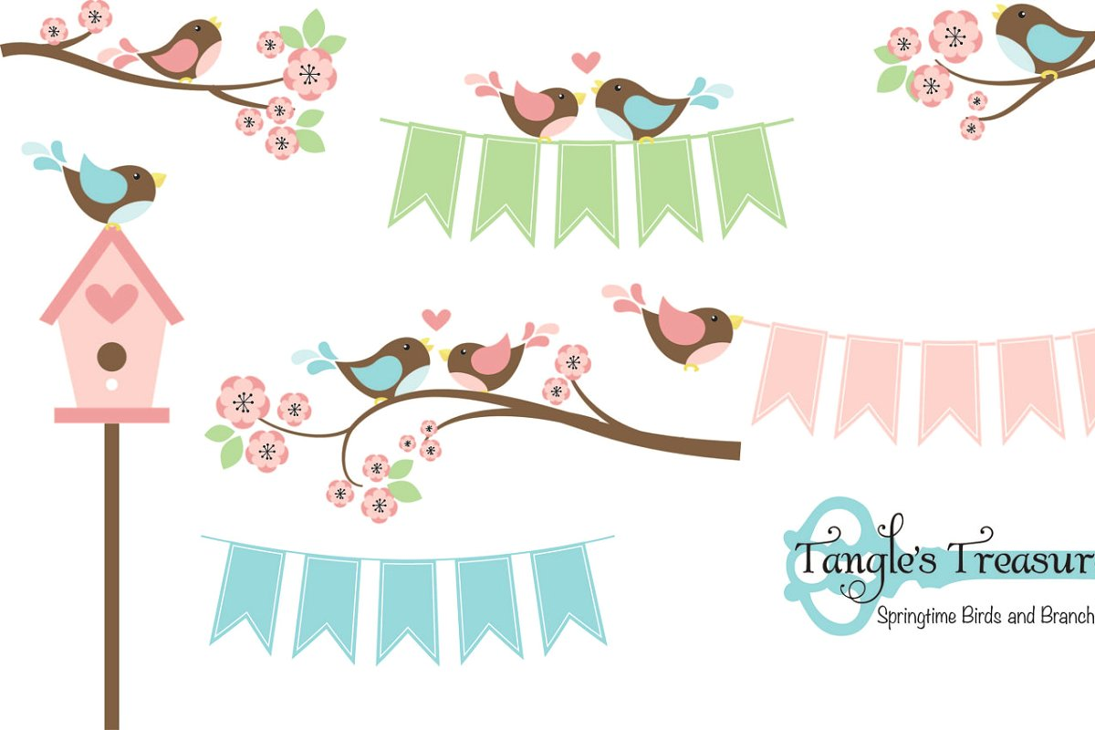Birds and Branches Clipart.