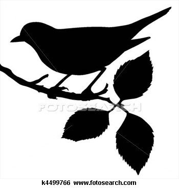 Silhouette of the bird on branch Clip Art.