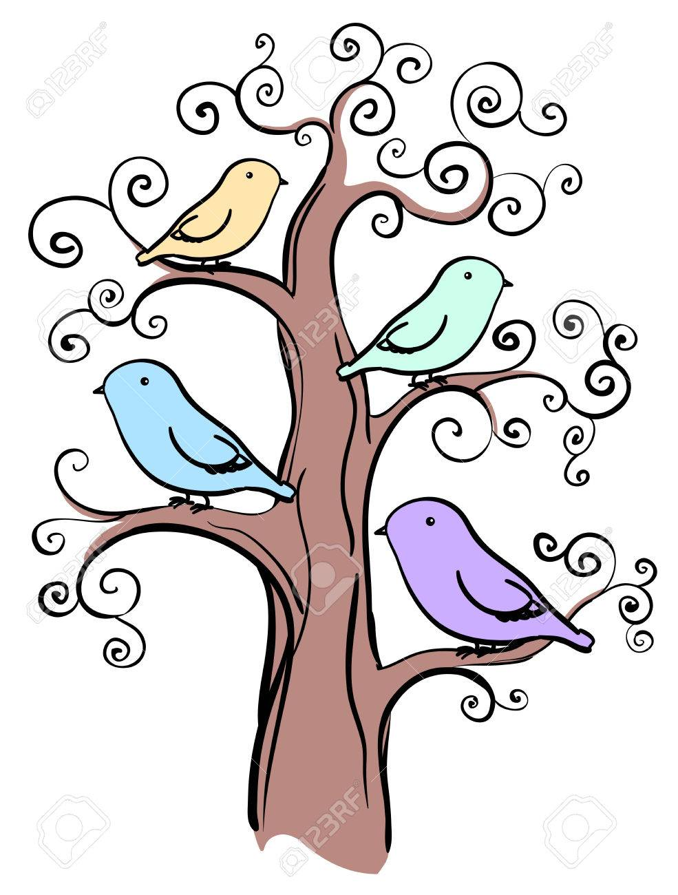 Bird On Tree Drawing at GetDrawings.com.