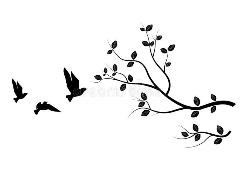 Birds Branch Silhouette Stock Illustrations.