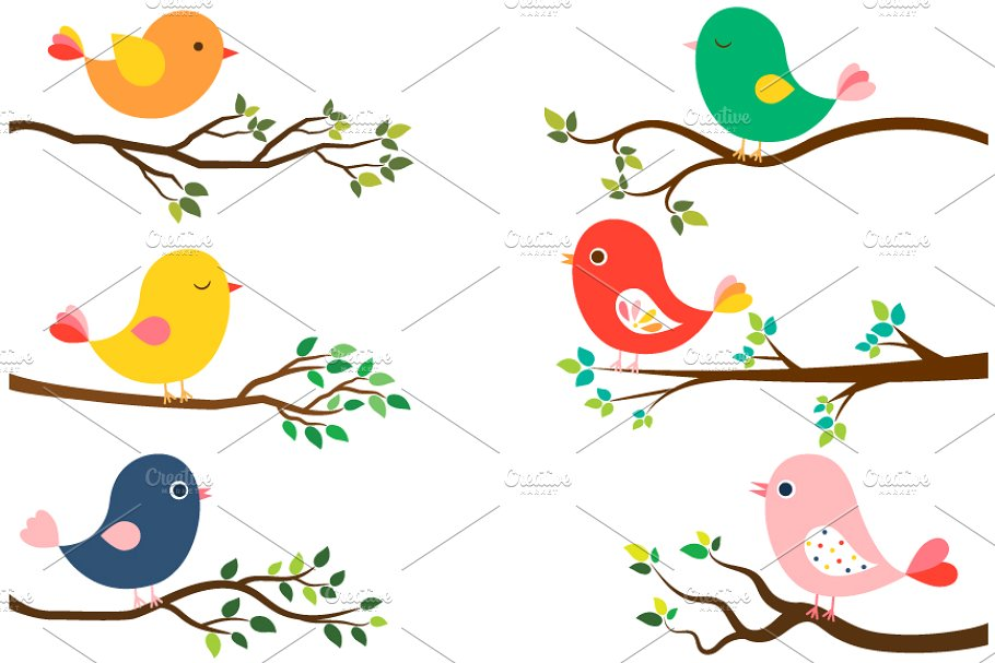 Cute birds and tree branches clipart.