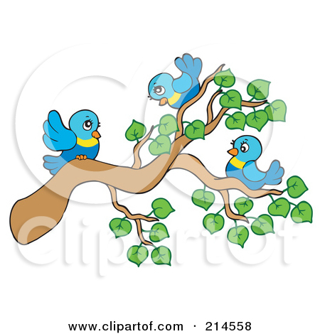 Clipart birds in a tree.