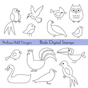 Bird Outlines Digital Stamps Clipart.