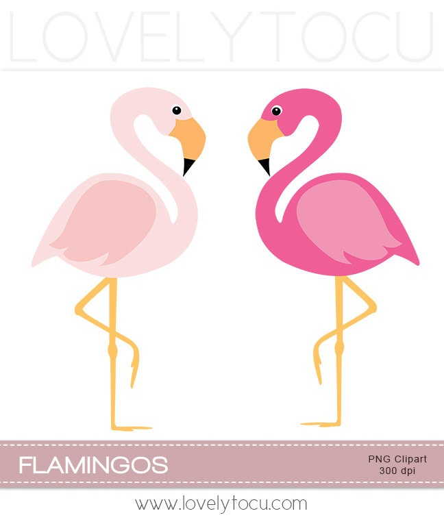 LAST CHANCE SALE Pink flamingo clipart, a pair of pink birds.