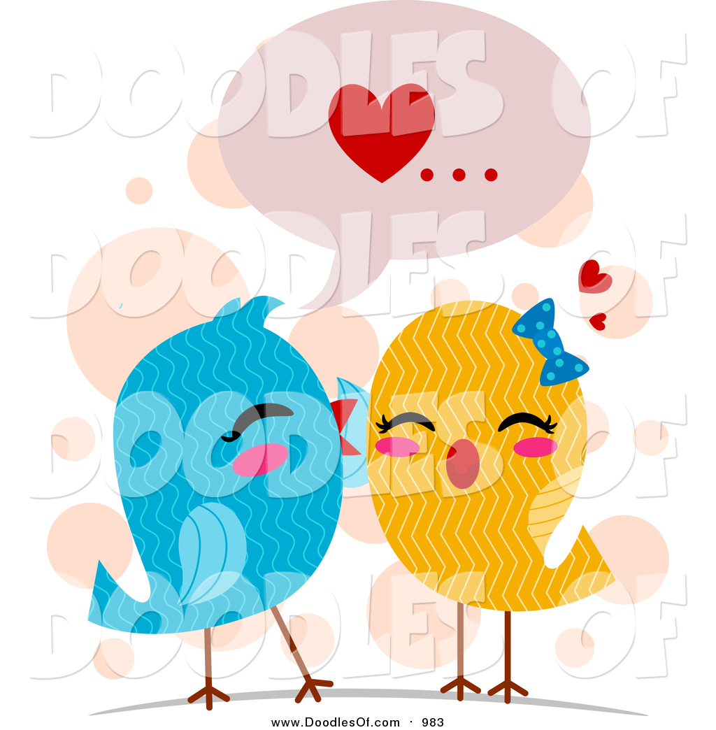 Vector Clipart of a Doodled Love Bird Pair Whispering Sweet.