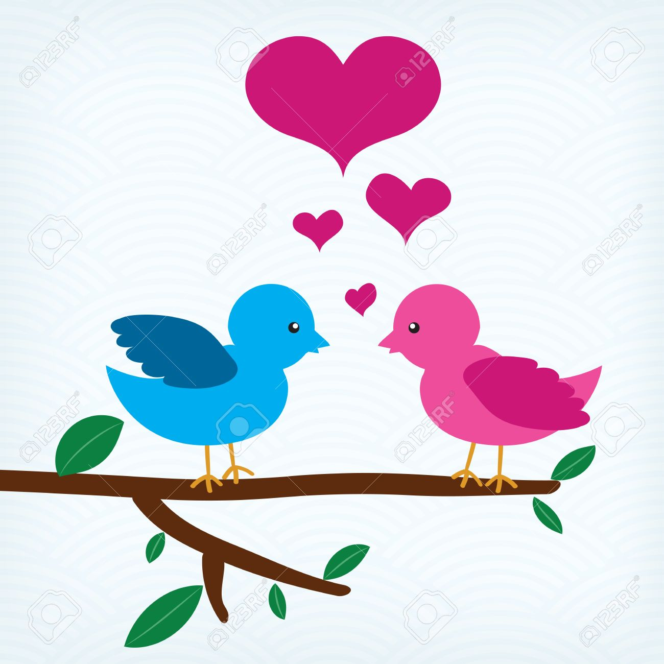 Pair Of Birds In Love Sitting On A Tree Branch Royalty Free.