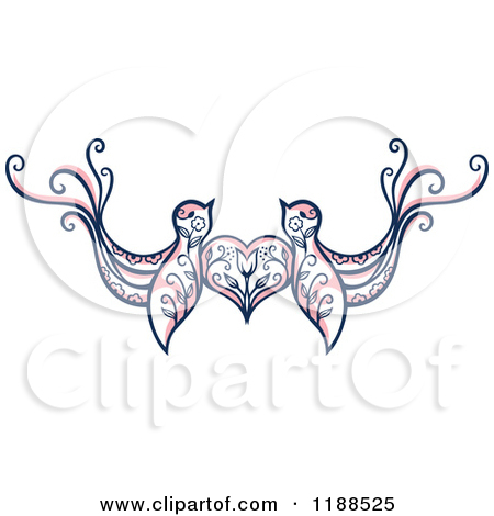 Clipart of a Pair of Floral Love Birds with a Heart.