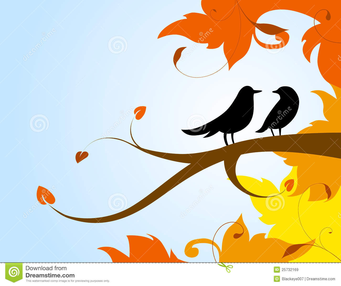A Pair Of Birds On A Branch With The Autumn Leaves Royalty Free.