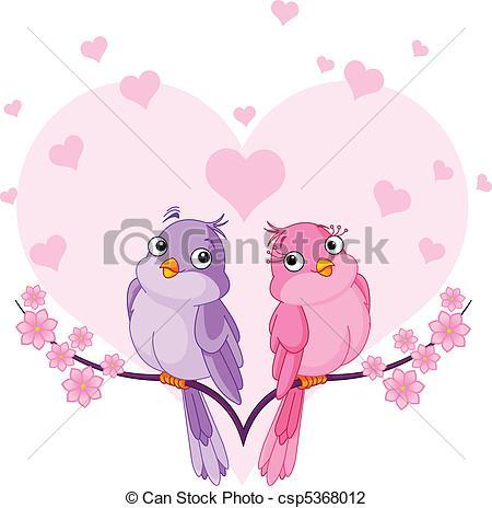Vector Illustration of Birds in love.