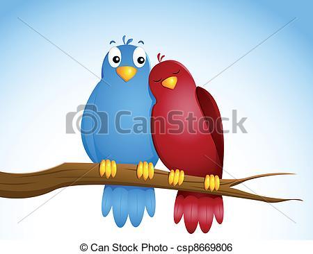Clip Art Vector of pair of birds csp8669806.