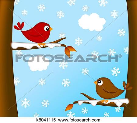 Stock Illustration of Christmas Red Cardinal Bird Pair Winter.