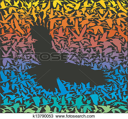 Clipart of Abstract predator bird and its prey k13790053.