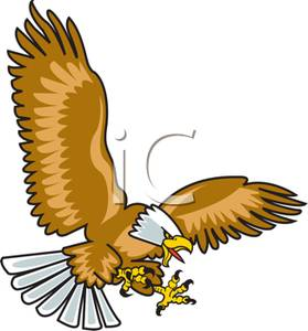Colorful Cartoon of an American Eagle Diving For Prey.