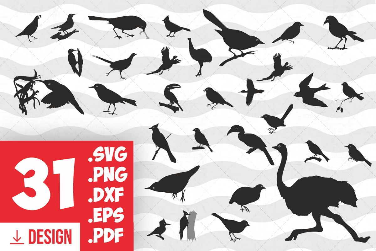 Birds silhouette bird clipart bird print black bird cut file.