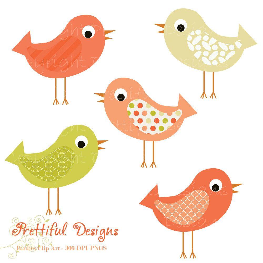 20% off SALE Bird Clip Art Pink and Green Pattern Bird Clipart.