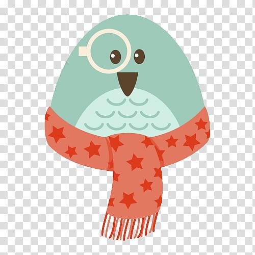 Hipster Xmas, green bird wearing orange star print scarf art.