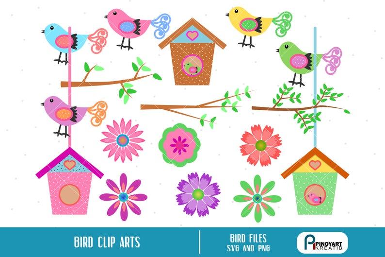 Bird Clip Art, Flower Clip Art, Bird House Clip Art, Branch Clip Art, Bird  Graphics, Flower Graphics, Bird House Graphics, Bird Prints.