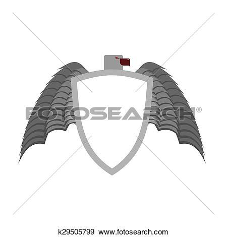 Clip Art of Ferocious gray bird heraldic element for coat of arms.