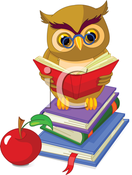 Royalty Free Clipart Image of an Owl on a Pile of Books.