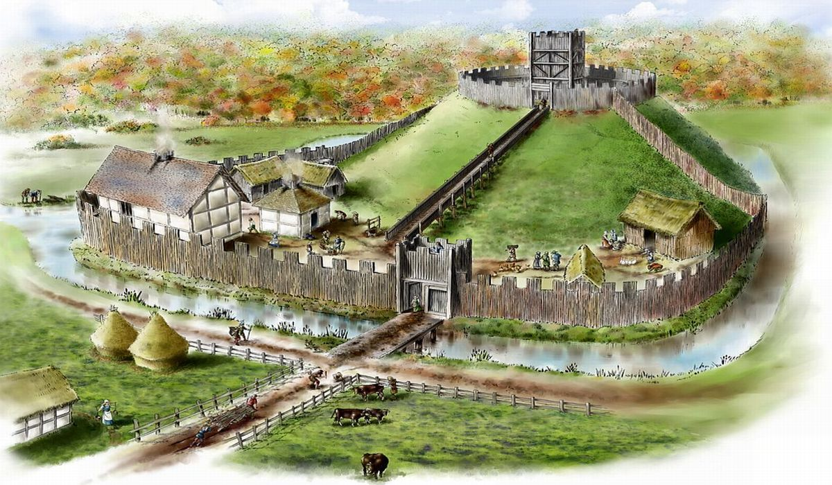 Motte and bailey castle.