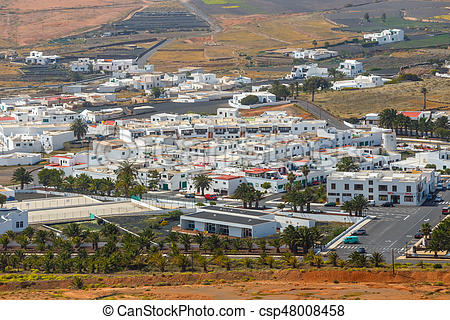 Top view on Teguise city from Castle hill on Lanzarote island in Spain,  former capital of the island.