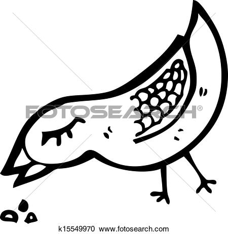 Clipart of bird pecking seed cartoon k14849194.