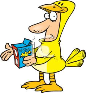 Colorful Cartoon of a Man In a Bird Costume Holding a Box of Bird.